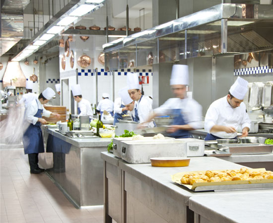 Cooks working in Peck kitchens